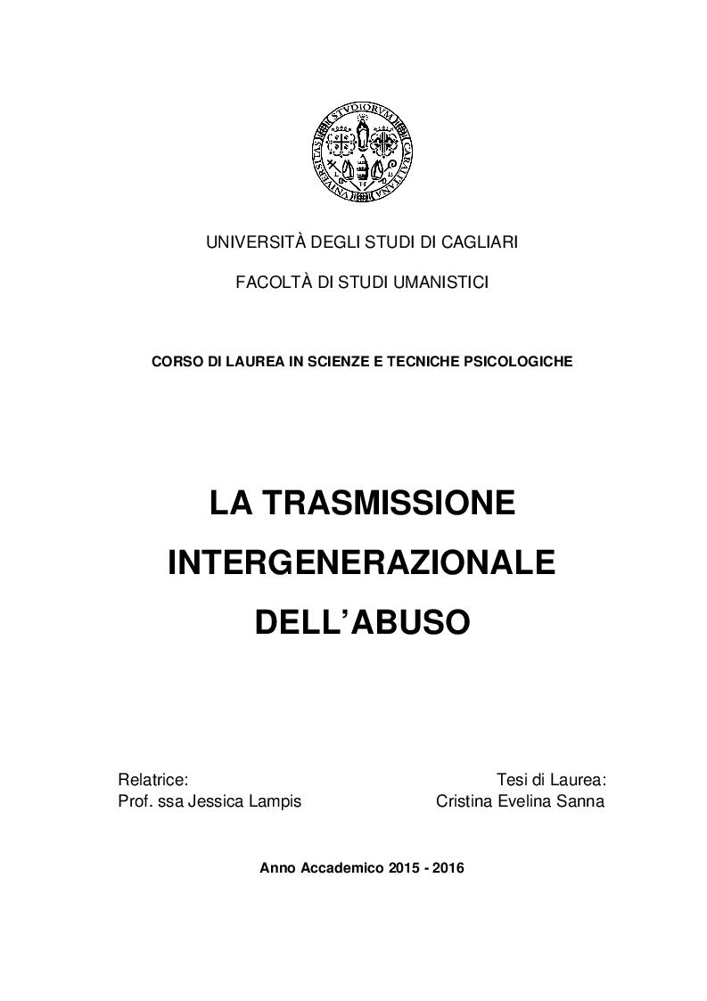 Anteprima della tesi: La trasmissione intergenerazionale dell'abuso, Pagina 1