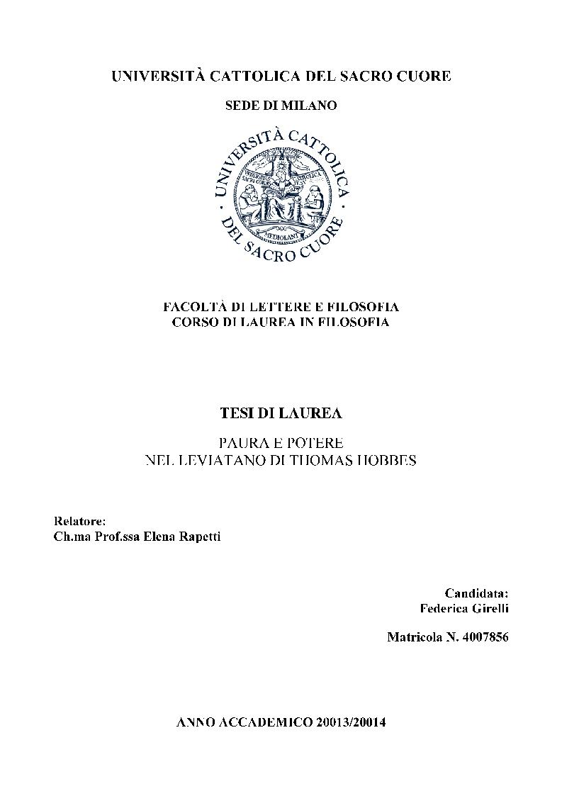 Anteprima della tesi: Paura e potere nel Leviatano di Thomas Hobbes, Pagina 1