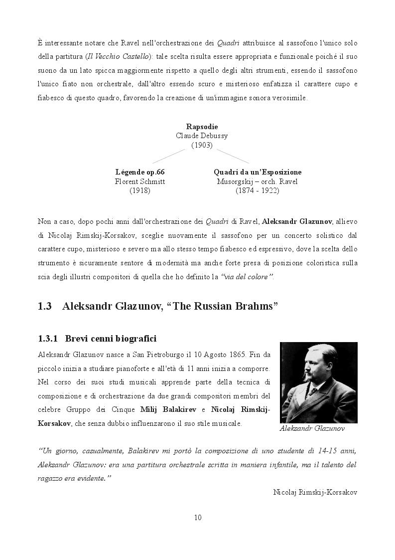 Estratto dalla tesi: Aleksandr Glazunov e il sassofono