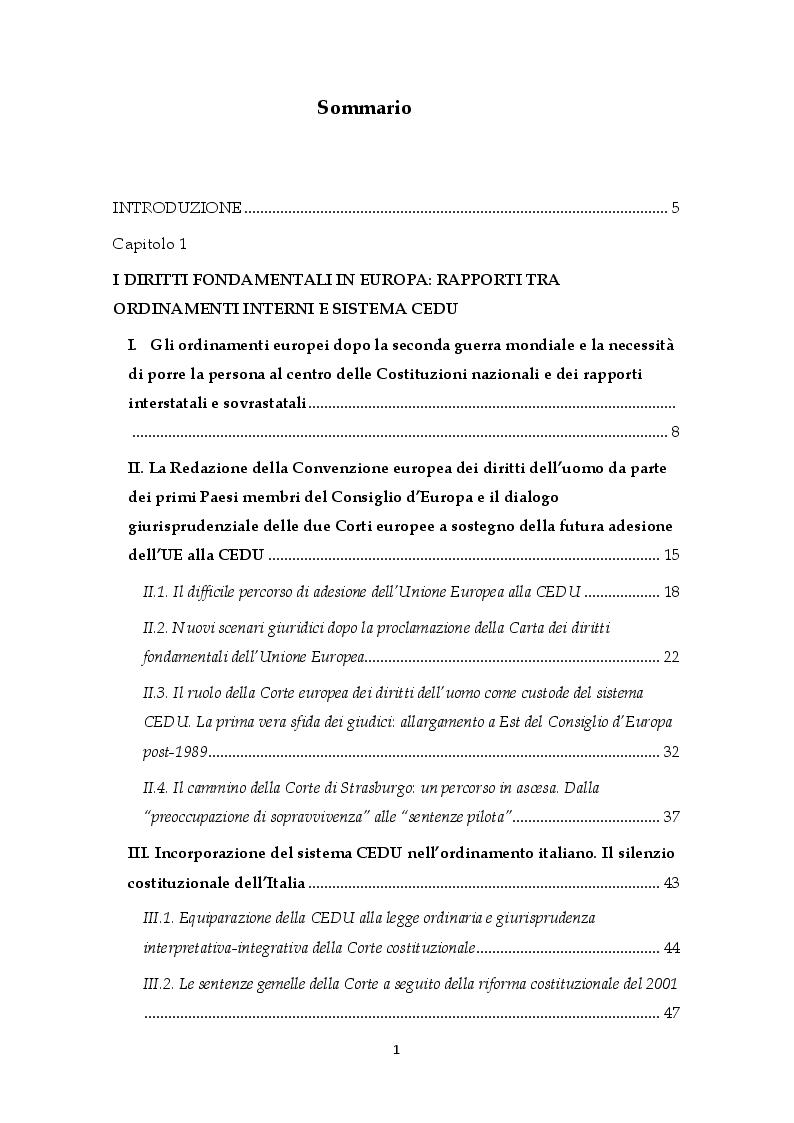 Indice della tesi: I diritti umani nei rapporti tra l'ordinamento statale e la CEDU. Il contesto delle carceri in Italia: una questione di legalità, Pagina 1