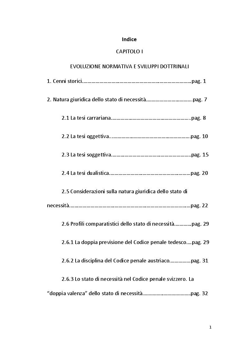 Indice della tesi: Lo stato di necessità tra teoria e prassi, Pagina 1