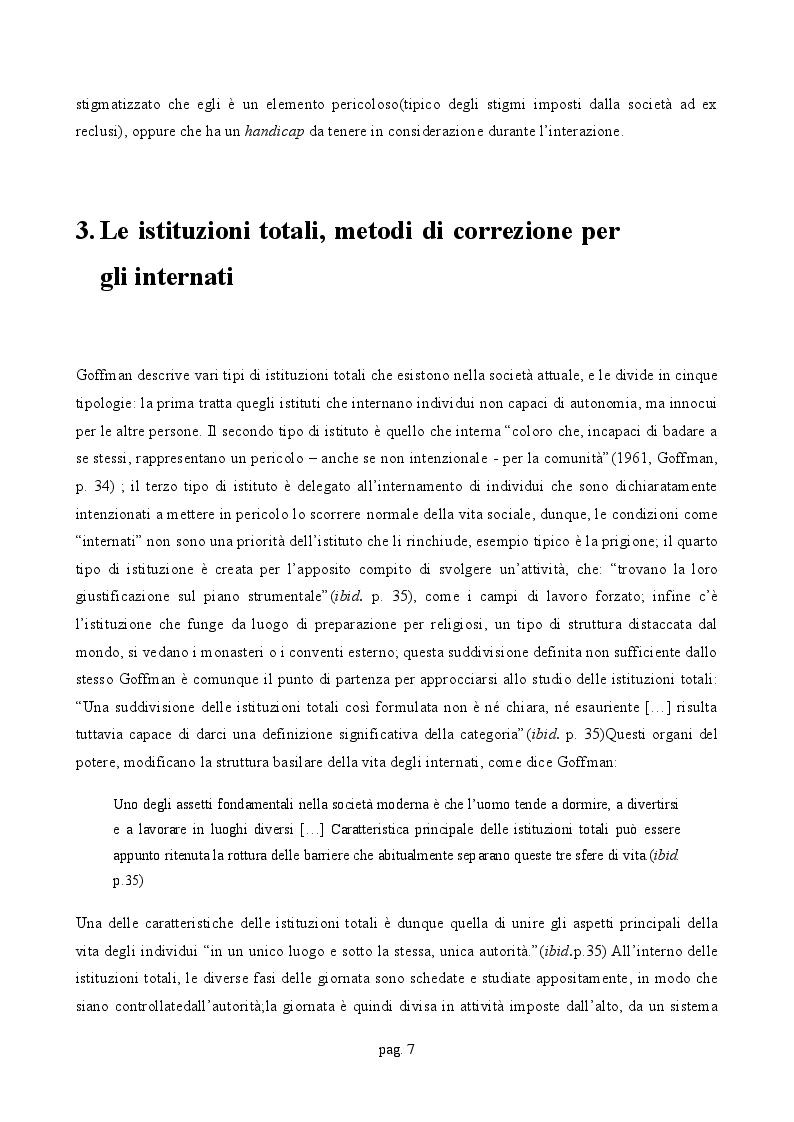Estratto dalla tesi: Controllo sociale, forme di disciplina e istituzioni totali: le analisi di Goffman e Foucault a confronto.