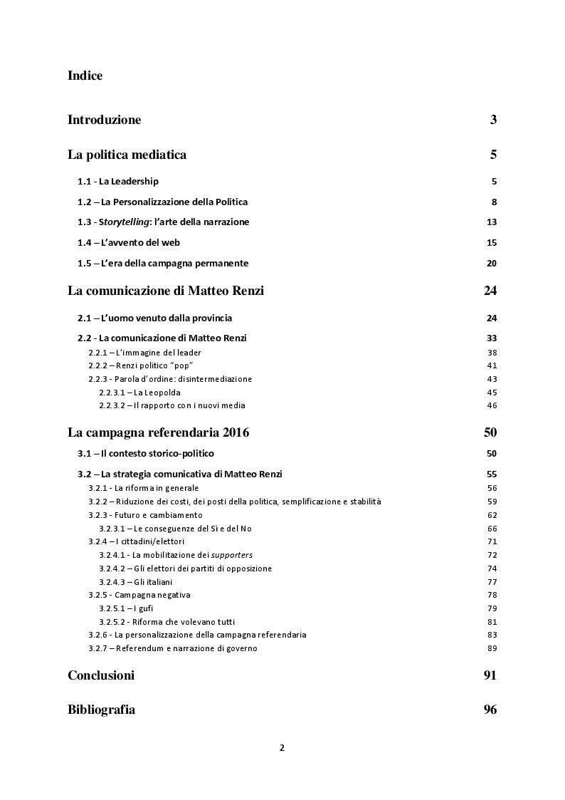 Indice della tesi: La campagna referendaria 2016. Le strategie narrative di Matteo Renzi, Pagina 1