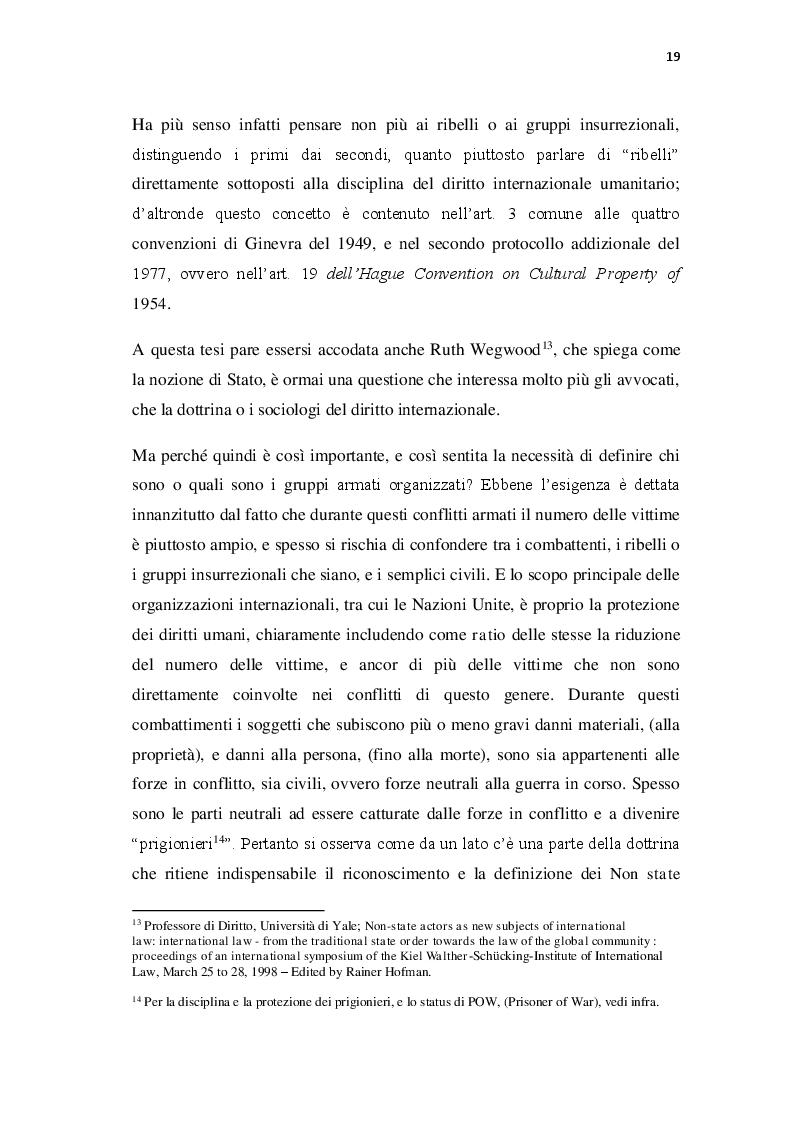 Estratto dalla tesi: Attori Non Statali e l'applicazione del Diritto Internazionale Umanitario da parte dei movimenti insurrezionali e di altri gruppi armati organizzati