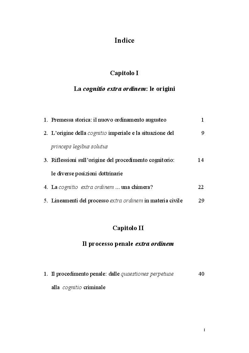 Indice della tesi: La cognitio extra ordinem, Pagina 1
