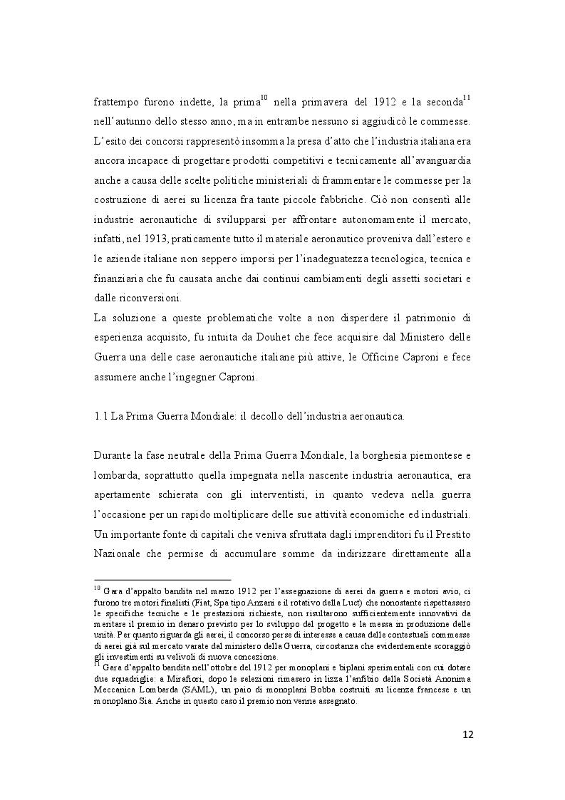 Estratto dalla tesi: Storia dell'industria aeronautica piemontese e lombarda