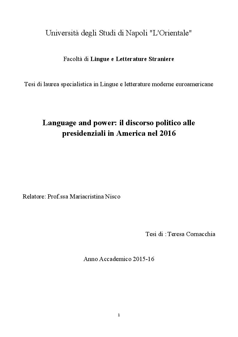 Anteprima della tesi: Language and power: il discorso politico alle presidenziali in America nel 2016, Pagina 1