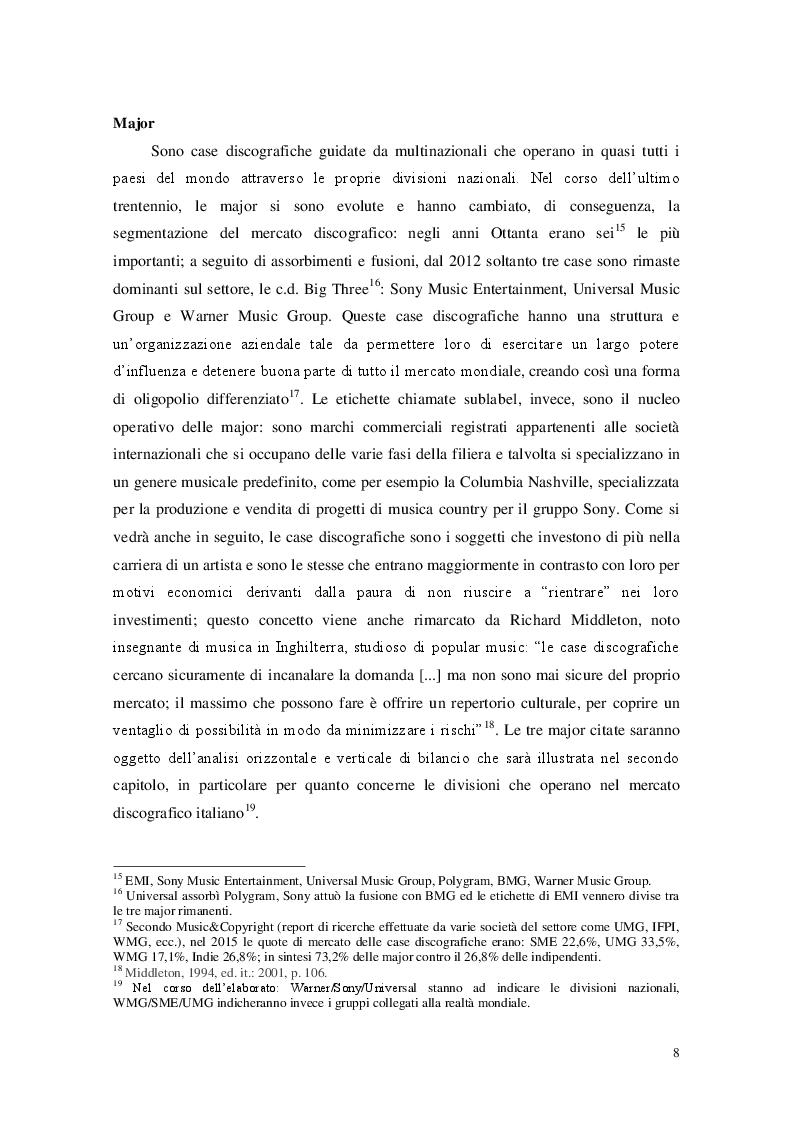 Estratto dalla tesi: Il mercato discografico italiano: analisi delle performance delle tre major del segmento nazionale