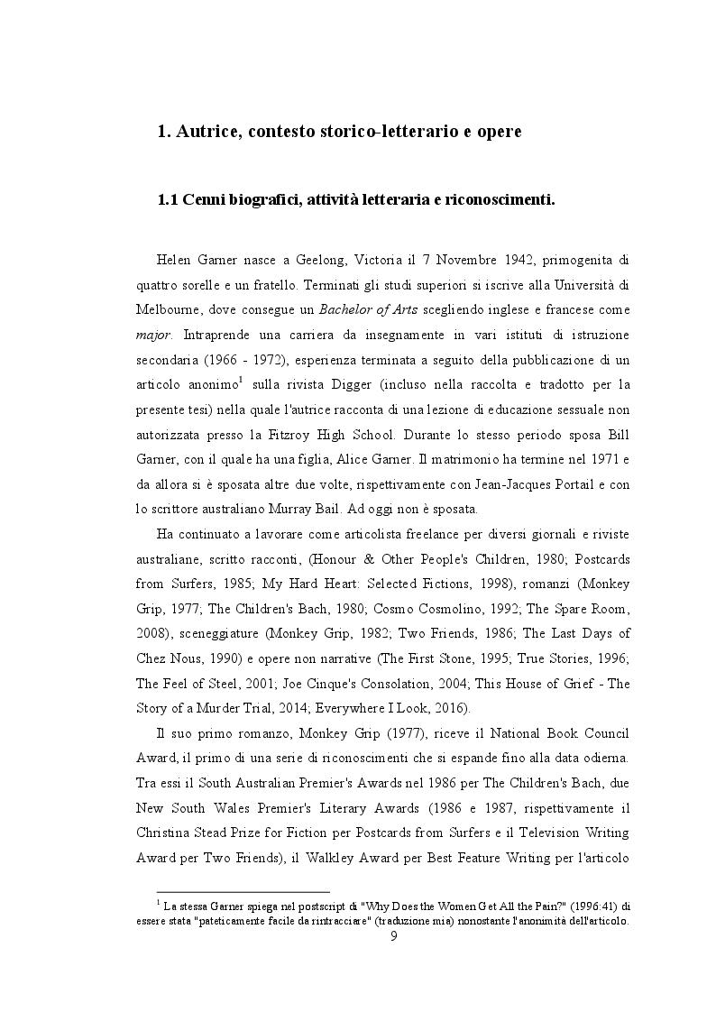 Estratto dalla tesi: Tradurre Helen Garner - Proposta di traduzione di dieci racconti tratti da True Stories: Selected Non-Fiction