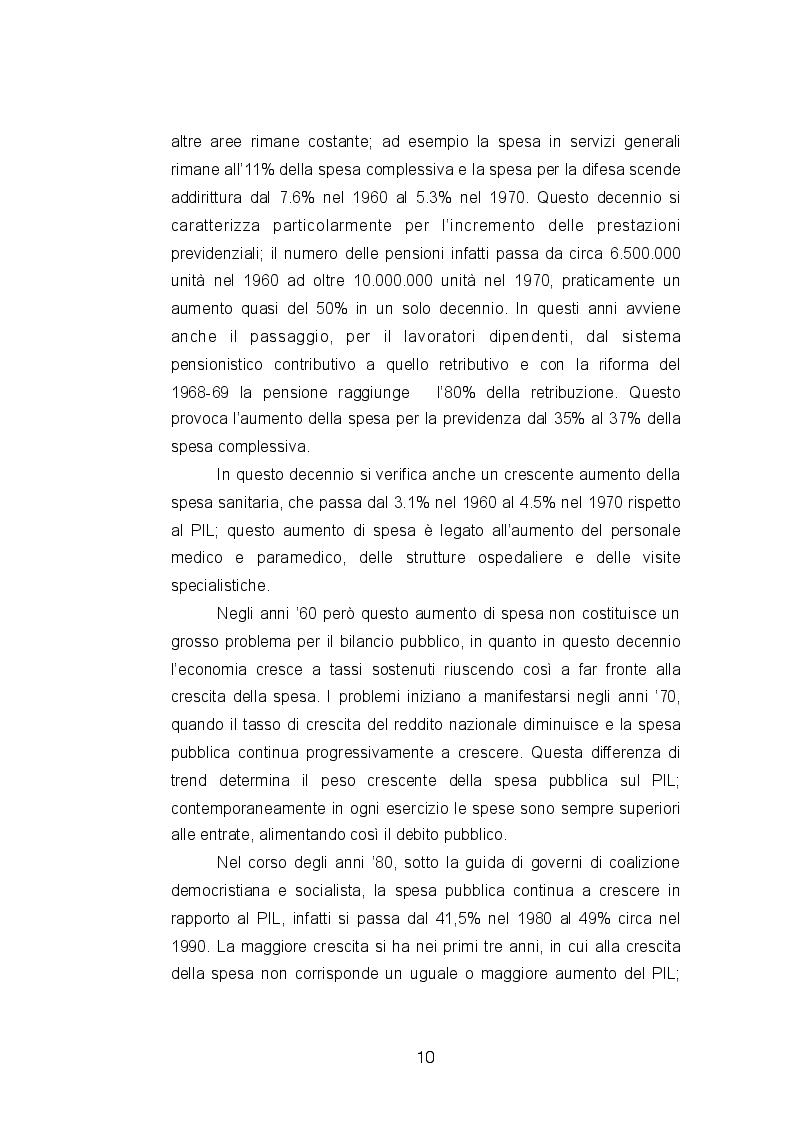 Estratto dalla tesi: La spesa pubblica italiana tra equità ed efficienza