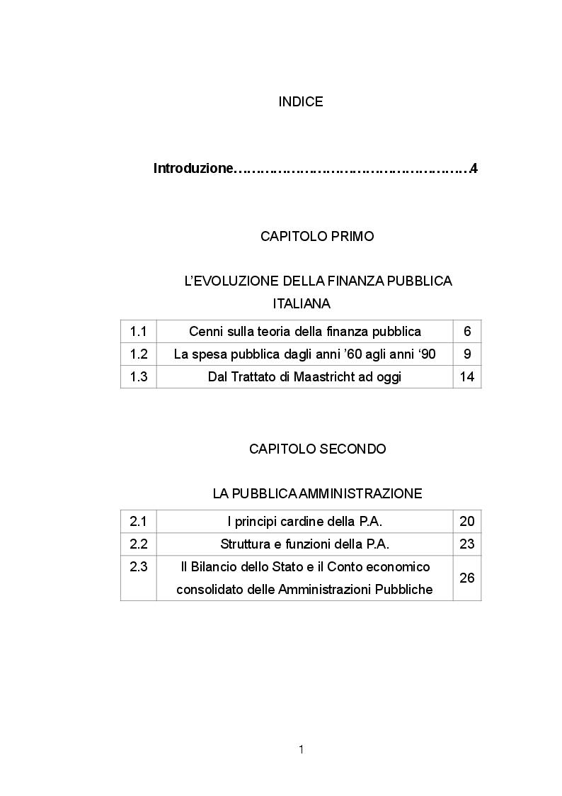 Indice della tesi: La spesa pubblica italiana tra equità ed efficienza, Pagina 1