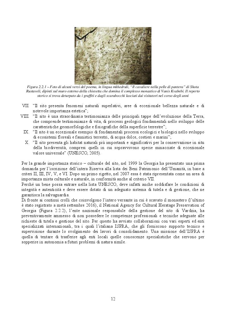 Estratto dalla tesi: Caratterizzazione meccanica e modellazione agli Elementi Finiti della parete rocciosa di Vardzia