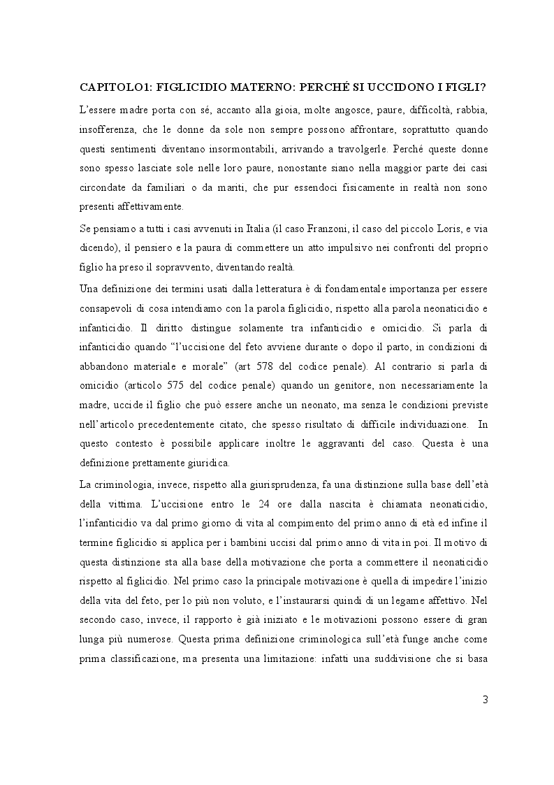 Anteprima della tesi: Il Figlicidio: Cause Genetiche e Psicologiche, Pagina 4