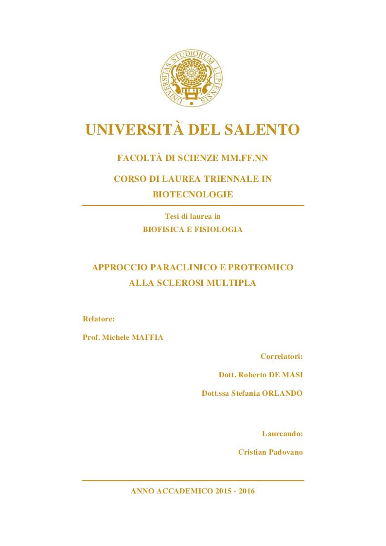 Anteprima della tesi: Approccio paraclinico e proteomico alla Sclerosi Multipla, Pagina 1
