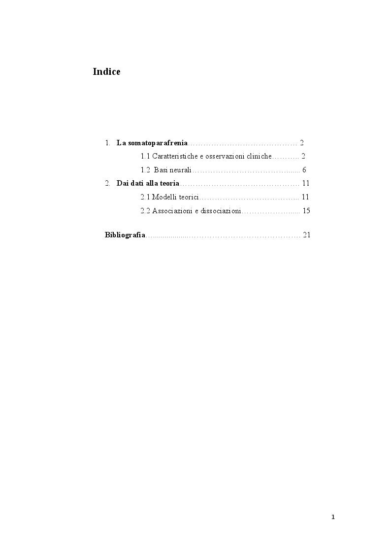 Indice della tesi: La somatoparafrenia nei disturbi della consapevolezza corporea, Pagina 1