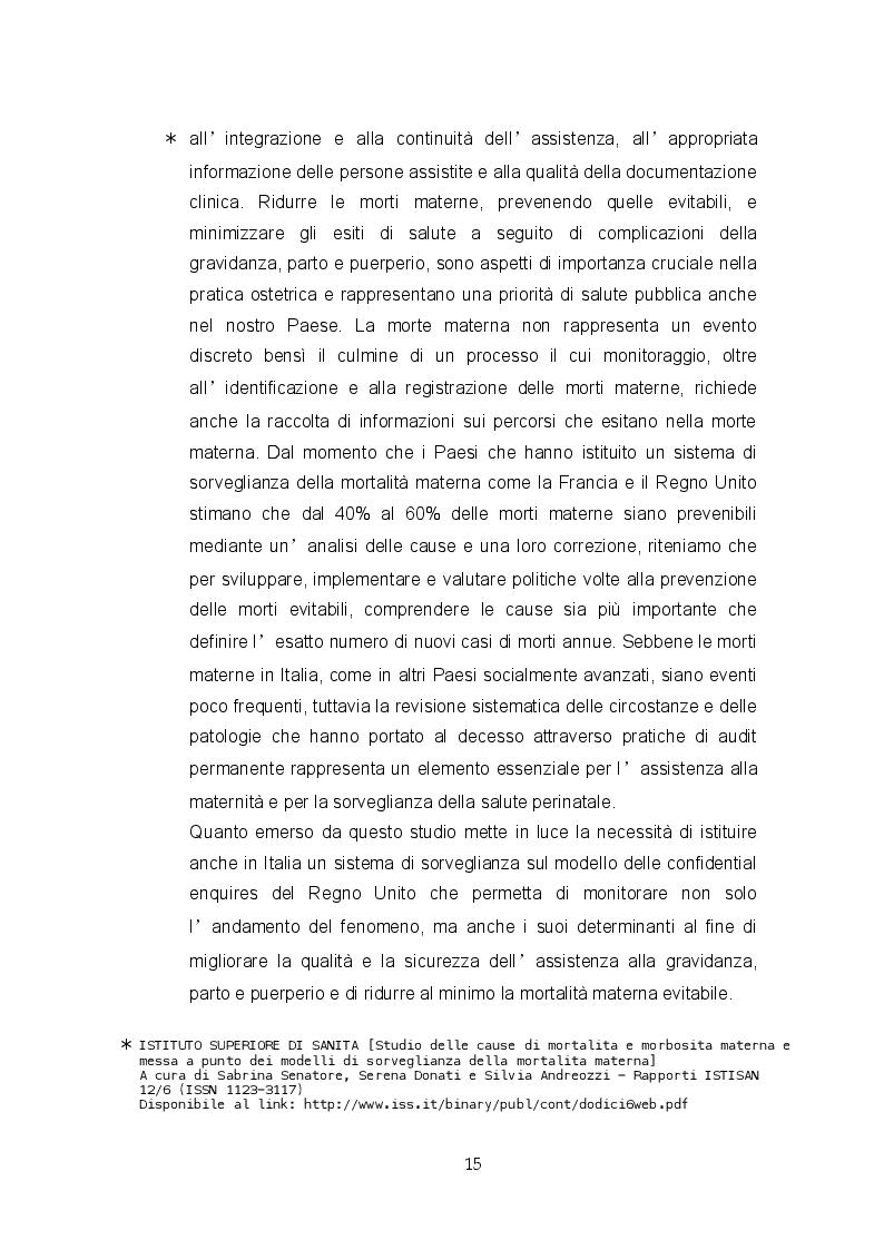 """Estratto dalla tesi: Aderenza allo """"standard care"""" descritto nelle linee guida dell'Emorragia Post – Partum: studio osservazionale prospettico"""