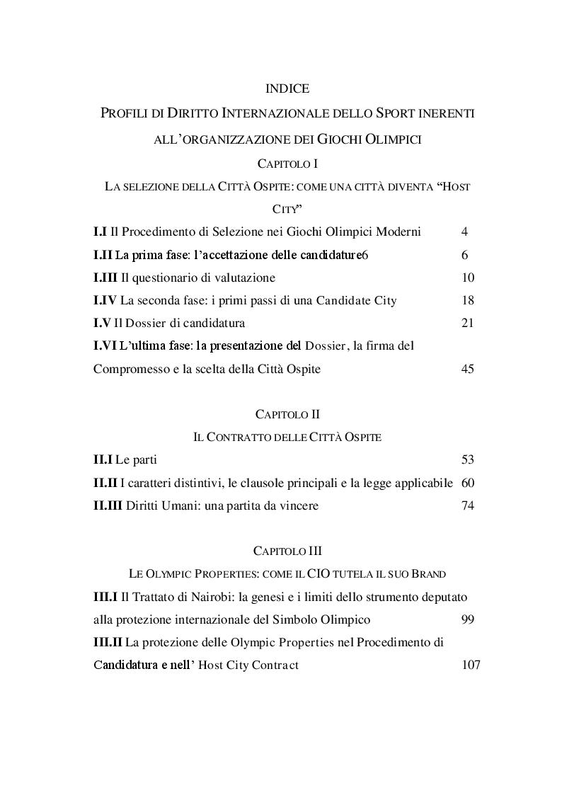 Indice della tesi: Le istituzioni di Diritto Internazionale inerenti all'organizzazione dei Giochi Olimpici, Pagina 1