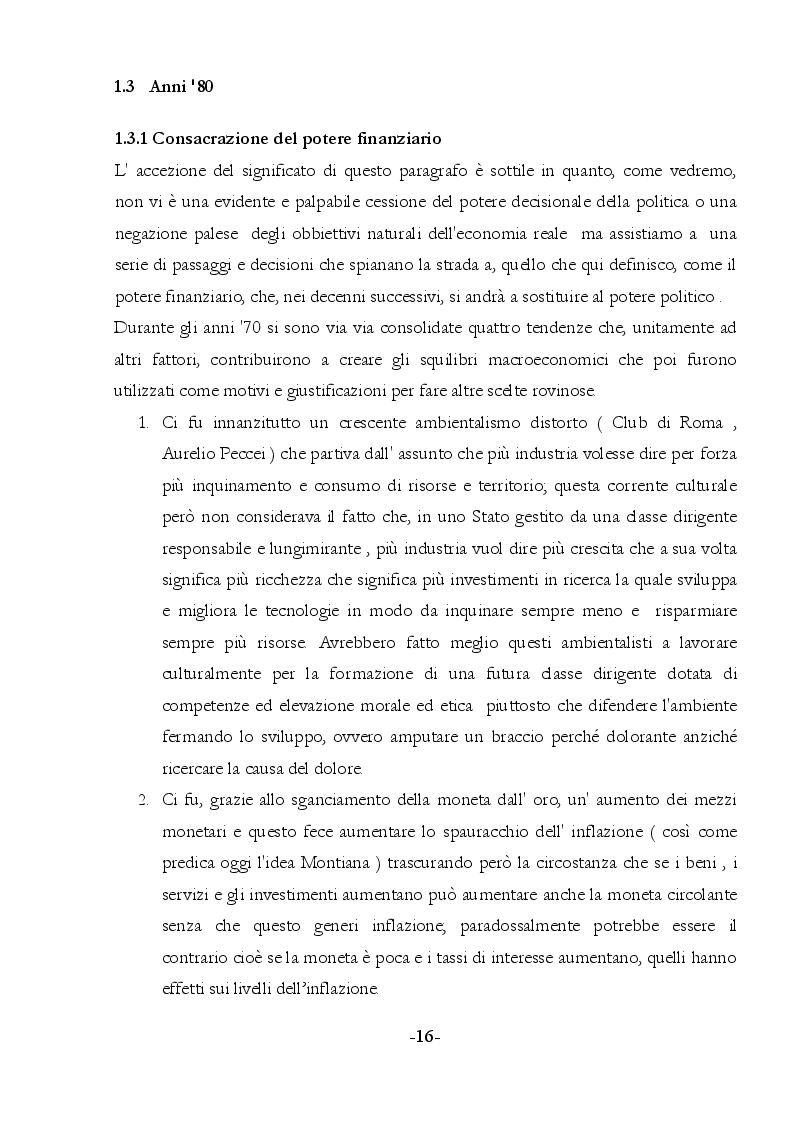 Estratto dalla tesi: Distruzione dell'economia italiana. Gli artefici, le cause, possibili soluzioni