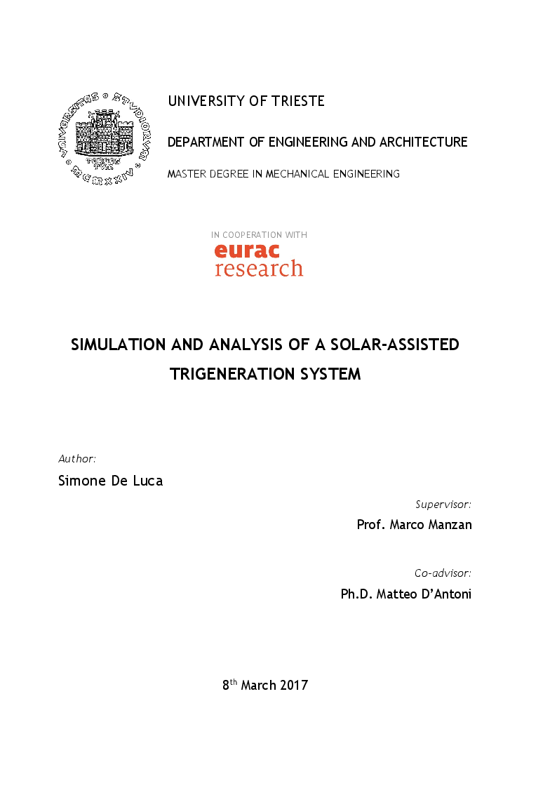 Anteprima della tesi: Simulation and analysis of a solar-assisted trigeneration system, Pagina 1