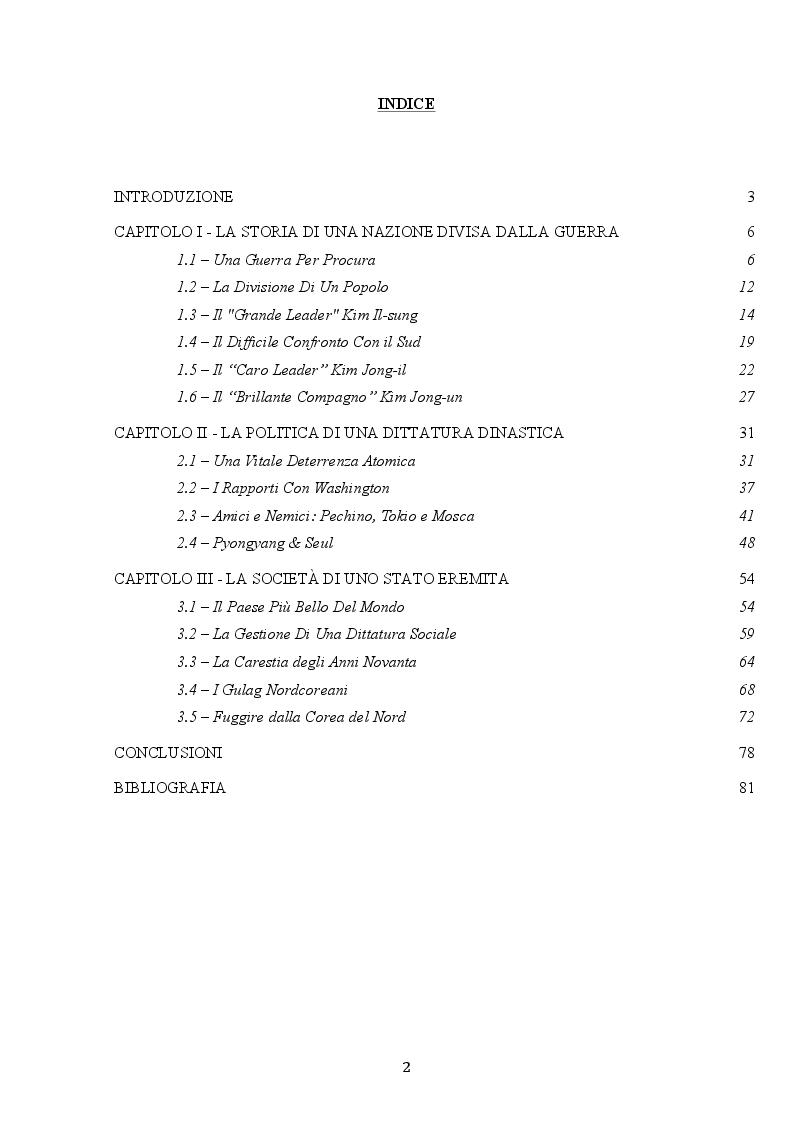 Indice della tesi: Il Caso Corea Del Nord, Pagina 1