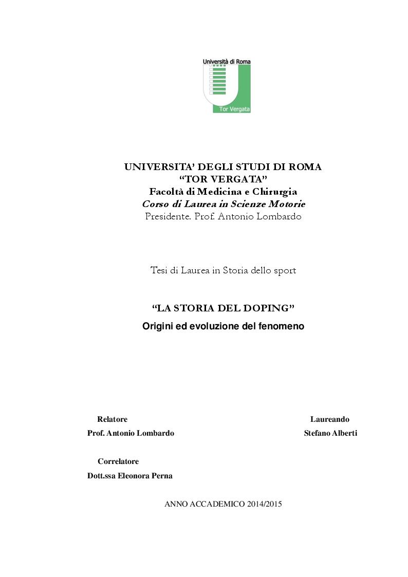 """Anteprima della tesi: """"La Storia Del Doping"""": origini ed evoluzione del fenomeno, Pagina 1"""