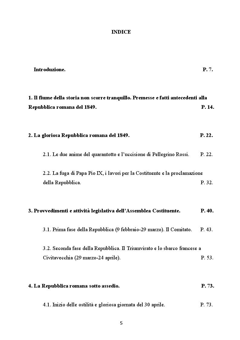 Indice della tesi: La Repubblica romana del 1849 e il suo operato legislativo, Pagina 1