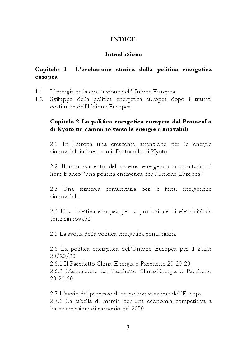 Indice della tesi: Le politiche energetiche europee e nazionali: quali strategie?, Pagina 1