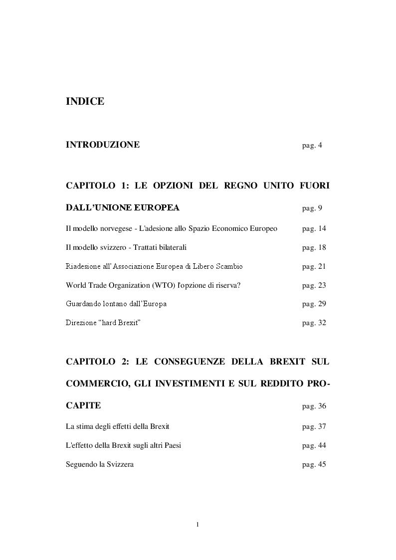 Indice della tesi: Gli impatti potenziali della Brexit sul Regno Unito, Pagina 1