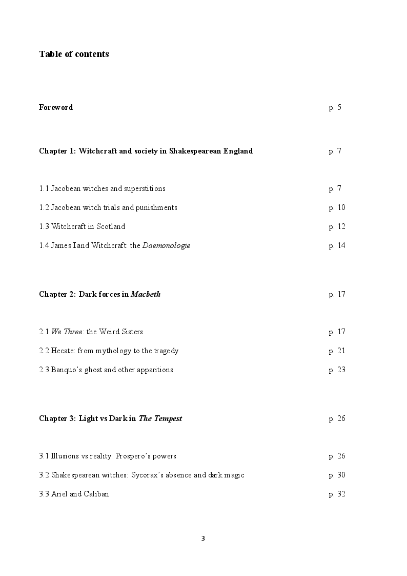 Indice della tesi: Magic and Witchcraft in Shakespearean England: Macbeth and The Tempest, Pagina 1