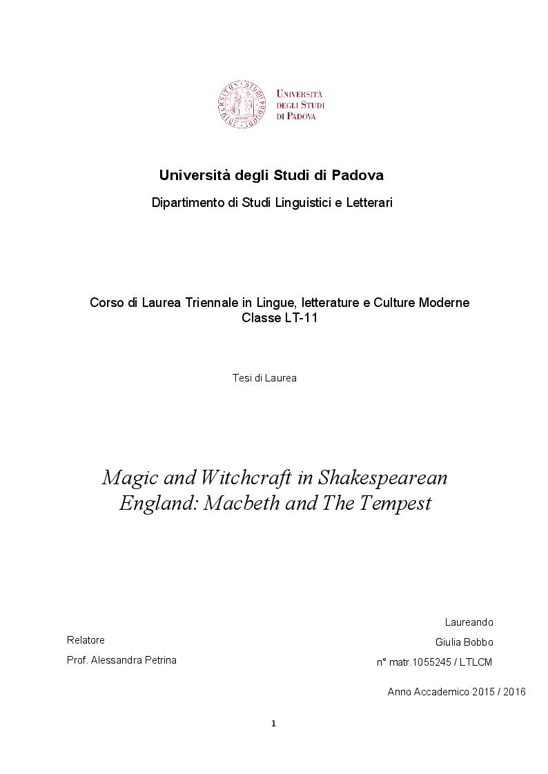 Anteprima della tesi: Magic and Witchcraft in Shakespearean England: Macbeth and The Tempest, Pagina 1