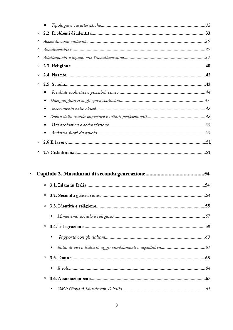 Indice della tesi: La generazione di mezzo. Seconde generazioni alle prese con la quotidianità, Pagina 2