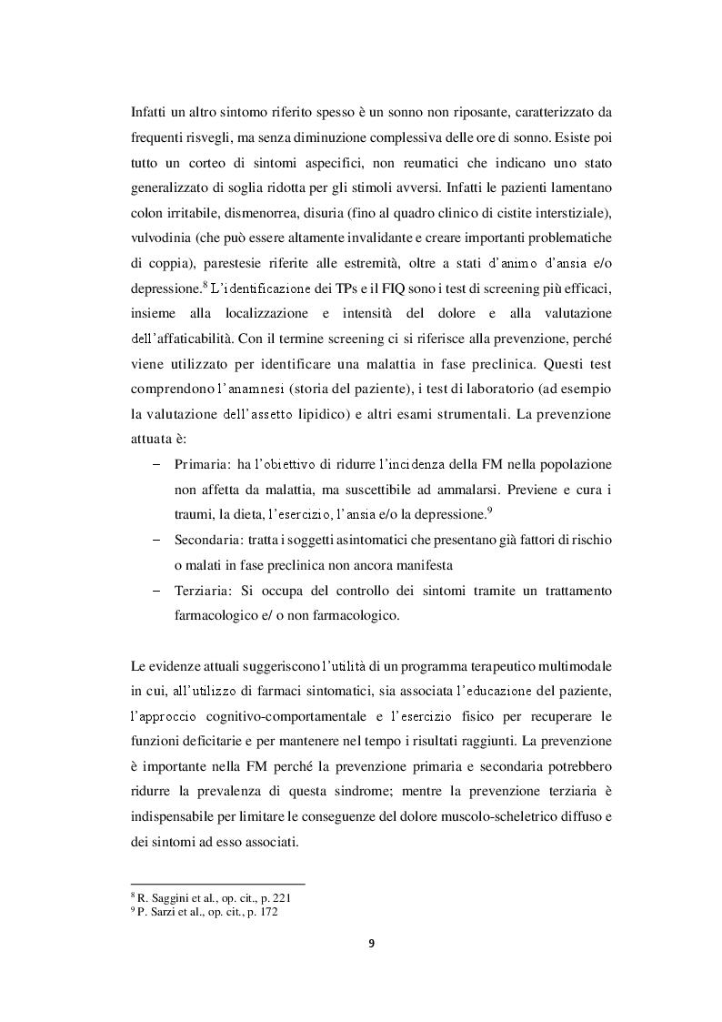 Estratto dalla tesi: Fibromialgia e Psicosomatica: proposte di protocollo per ridurre la sintomatologia dolorosa