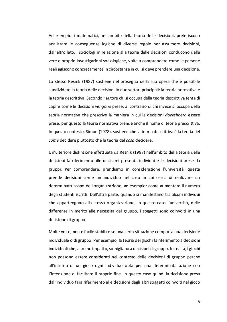 """Estratto dalla tesi: Analisi dei processi decisionali non strutturati """"il caso del Club Méditerranée sull'isola di Caprera"""""""