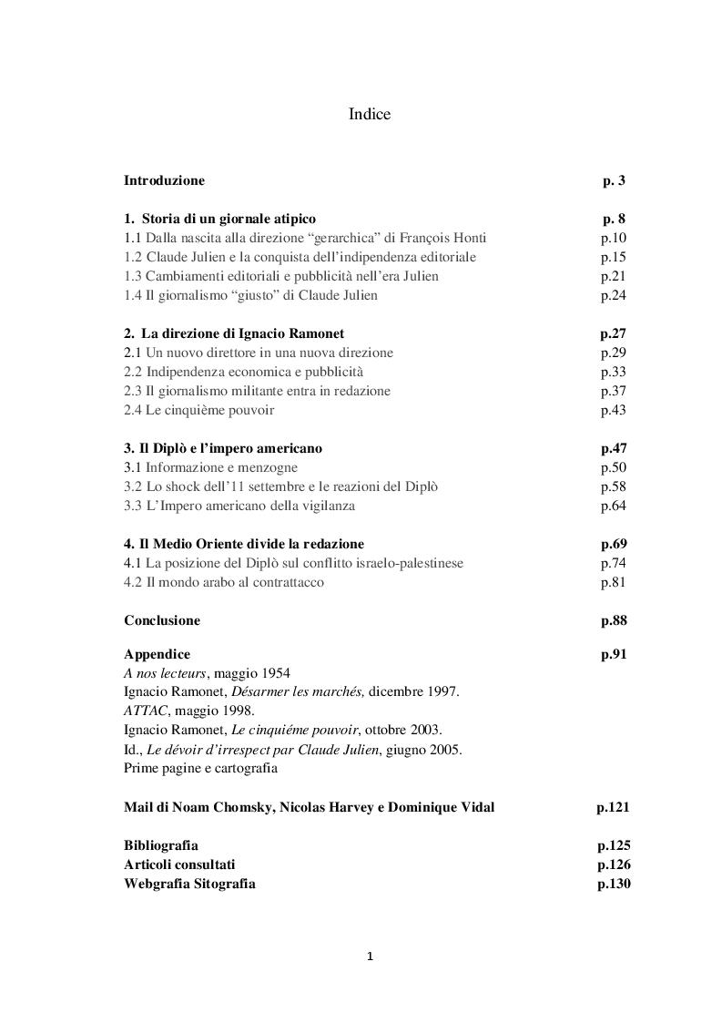 Indice della tesi: Le Monde diplomatique e il dibattito su informazione e disinformazione, Pagina 1