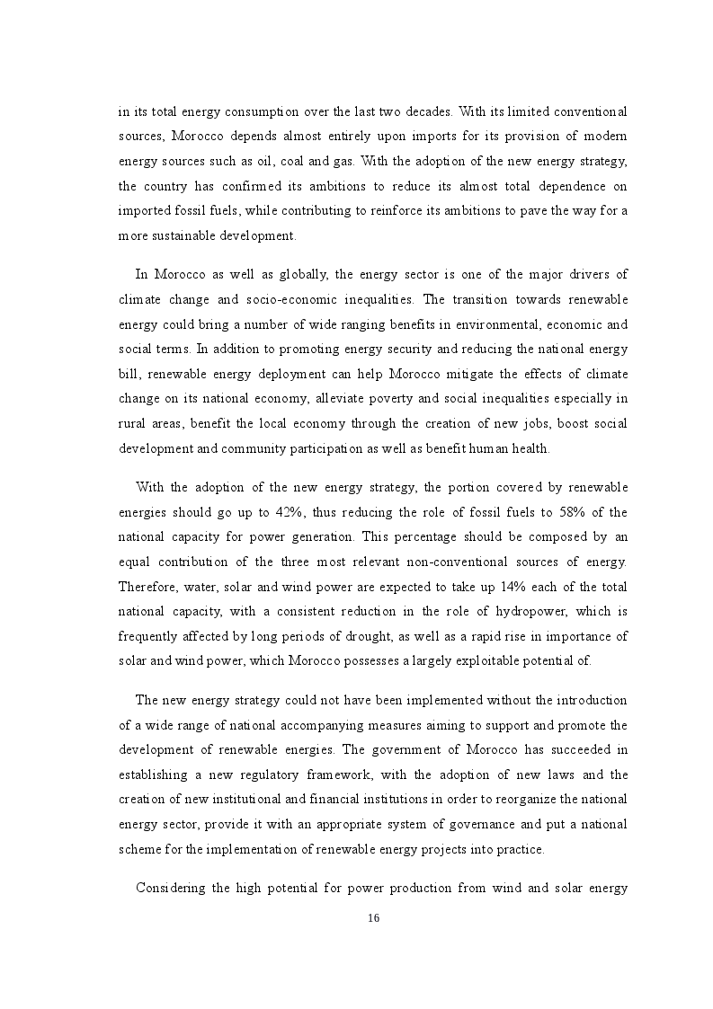 Estratto dalla tesi: Renewable Energy as a Vector for the Strengthening of Technical and Financial Cooperation in the Euro-Mediterranean Region: The Case of Morocco