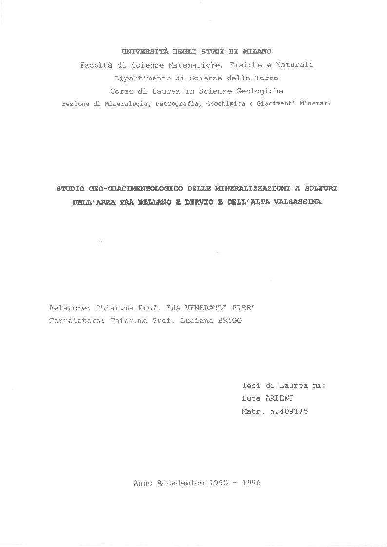 Anteprima della tesi: Studio Geo-giacimentologico delle mineralizzazioni a solfuri dell'area tra Bellano e Dervio e dell'Alta Valsassina, Pagina 1