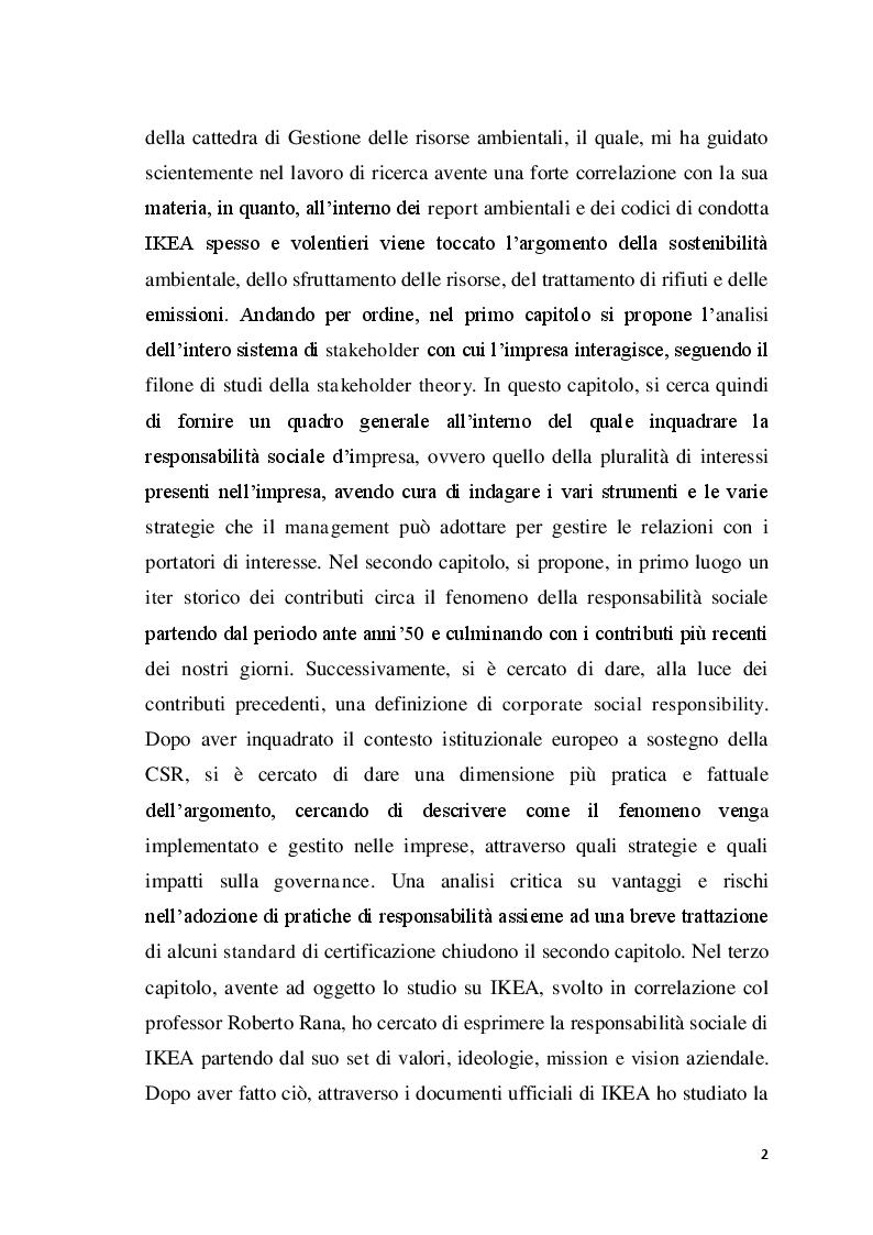 Anteprima della tesi: La corporate social responsibility al giorno d'oggi: una possibile analisi della performance sulla sostenibilità fra le divisioni nazionali IKEA, Pagina 3