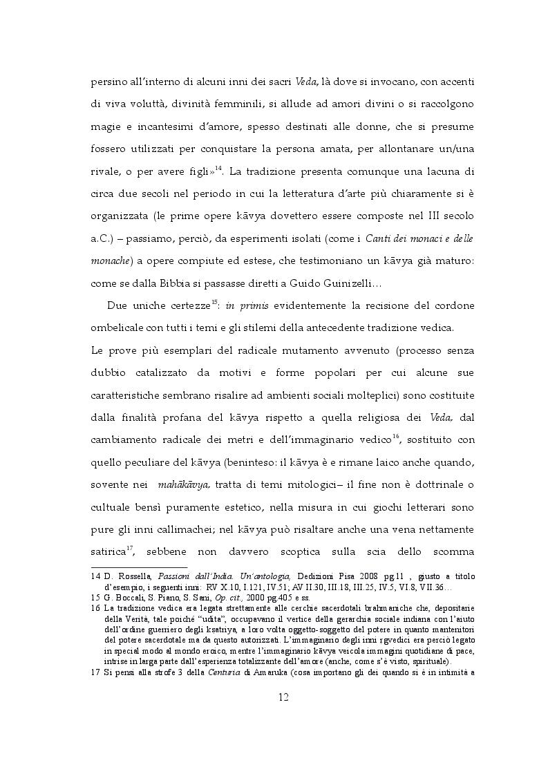 Estratto dalla tesi: Amore ed Eros tra kāvya ed epigrammi: visioni e incanti in India e in Grecia