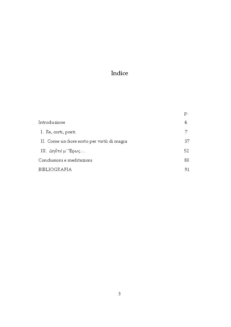 Indice della tesi: Amore ed Eros tra kāvya ed epigrammi: visioni e incanti in India e in Grecia, Pagina 1