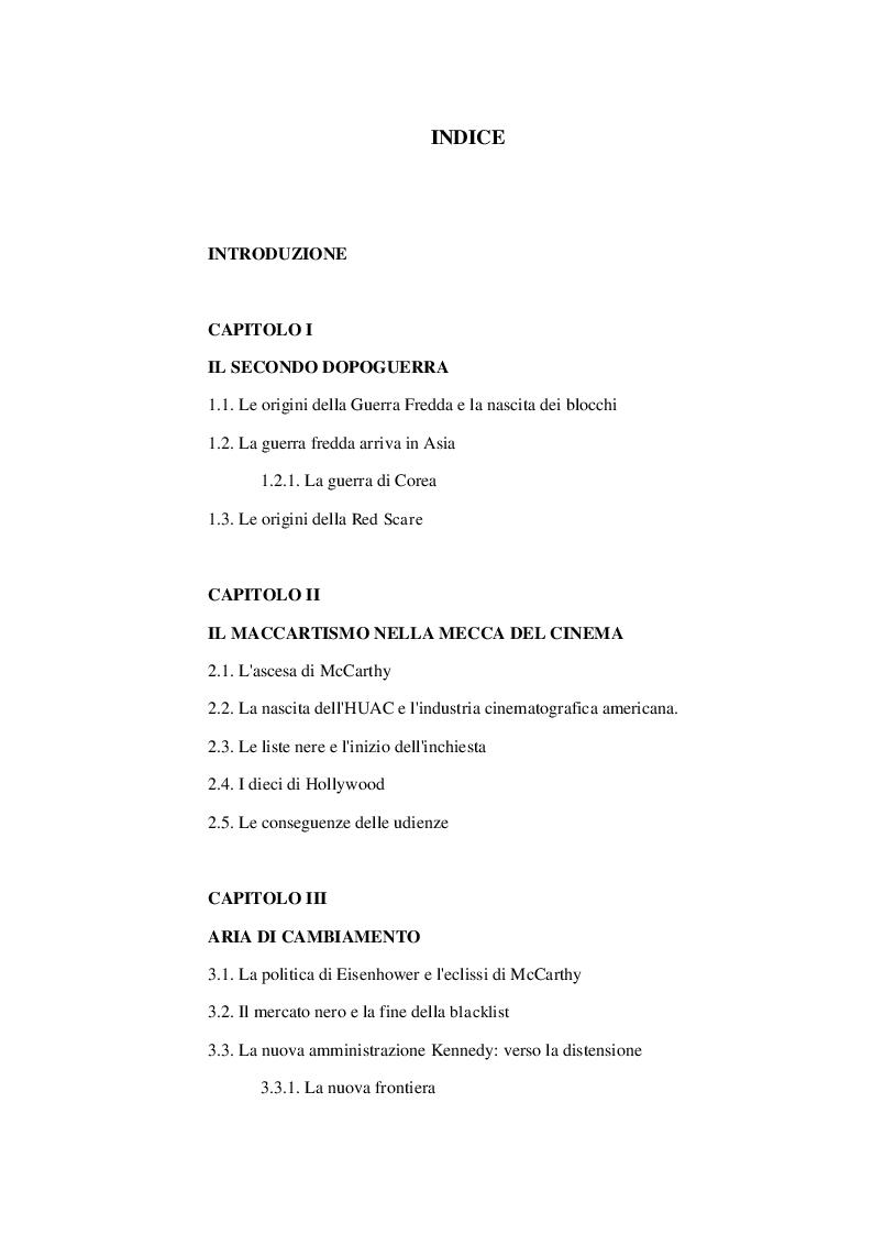 Indice della tesi: Una nuova caccia alle streghe: gli Stati Uniti negli anni del Maccartismo, Pagina 1