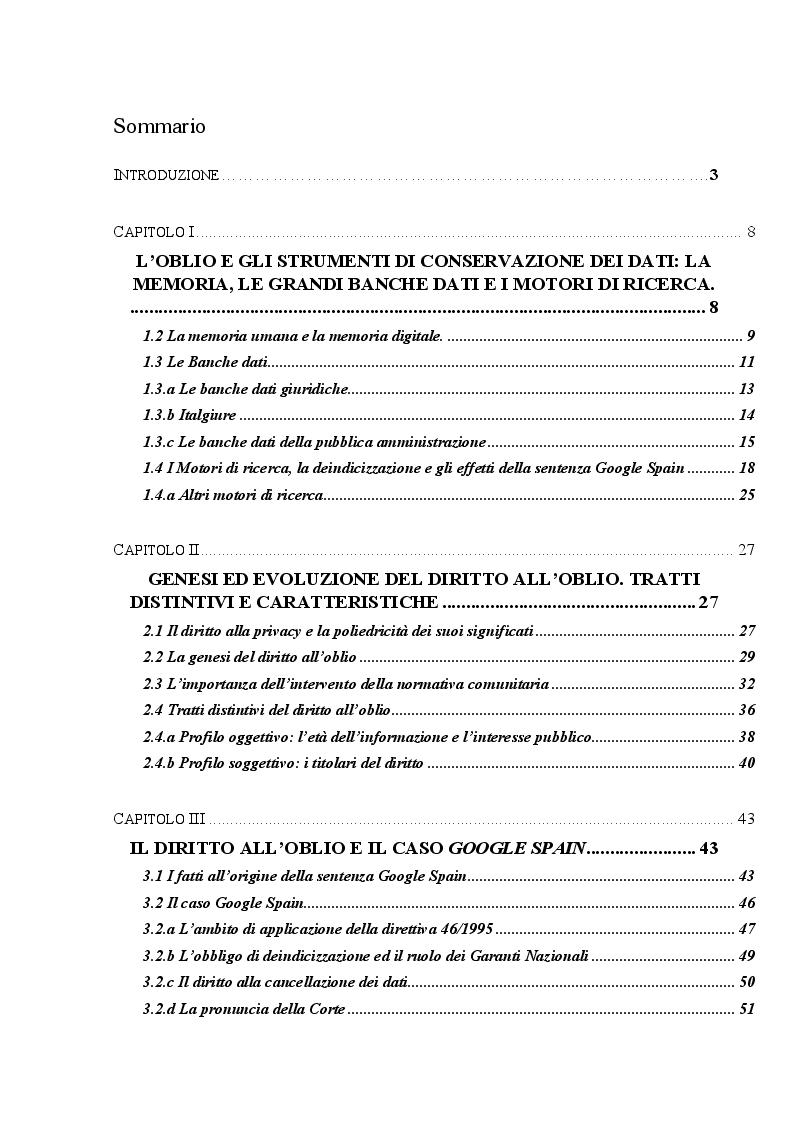 Indice della tesi: Il diritto all'oblio come forma di manifestazione del diritto alla privacy, Pagina 1