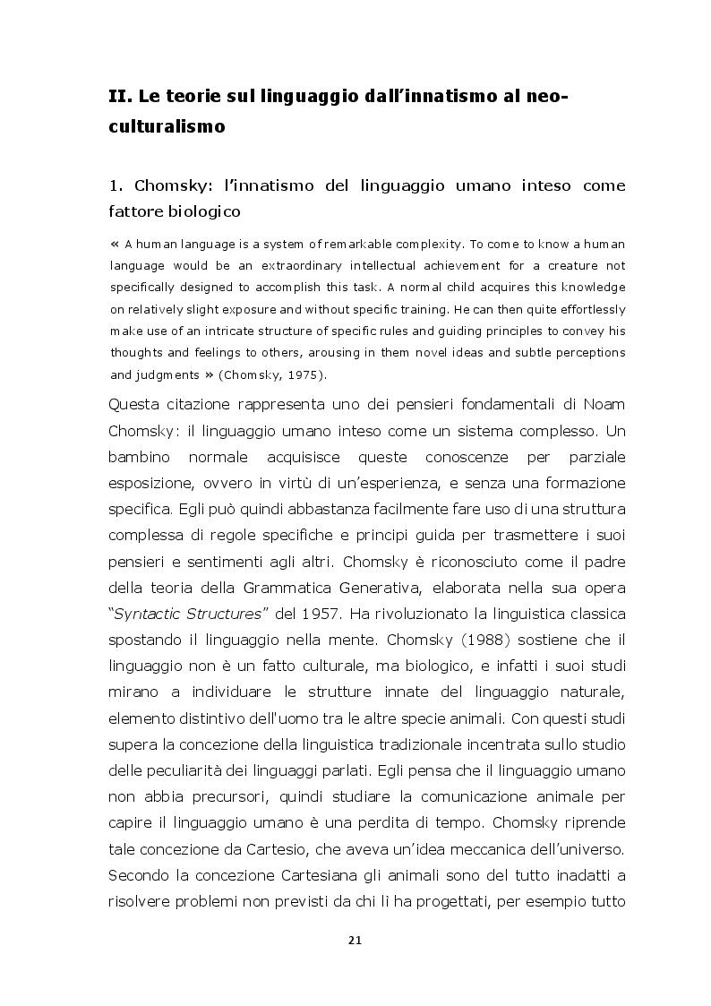 Estratto dalla tesi: L'evoluzione del linguaggio e della comunicazione, rivalutare gli aspetti culturali?
