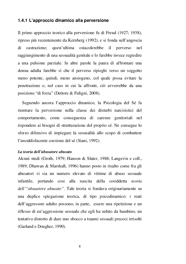 Estratto dalla tesi: Profili cognitivi e psicopatia in un gruppo di abusatori sessuali di minori: un'indagine empirica
