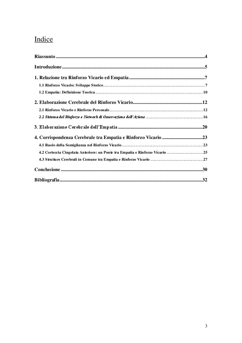 Indice della tesi: Rinforzo vicario: strutture cerebrali correlate e relazione con empatia, Pagina 1