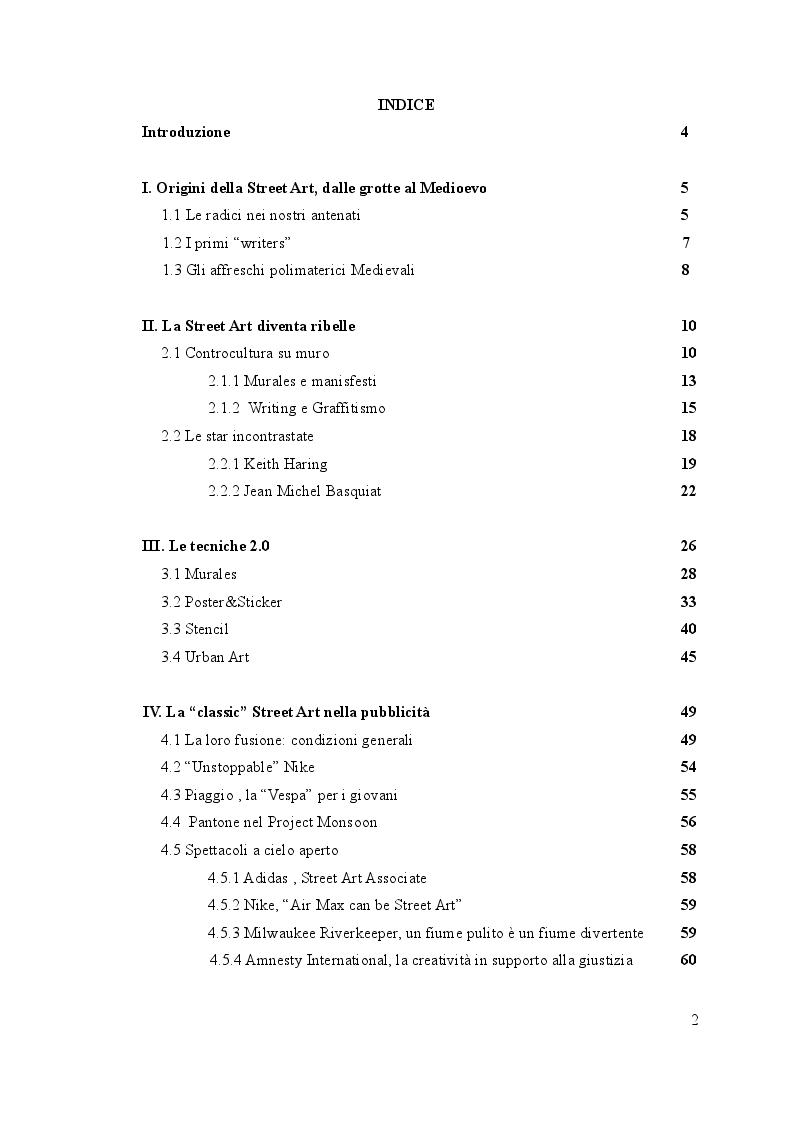 Indice della tesi: Eco Street Art, la pubblicità a servizio dell'ambiente, Pagina 1