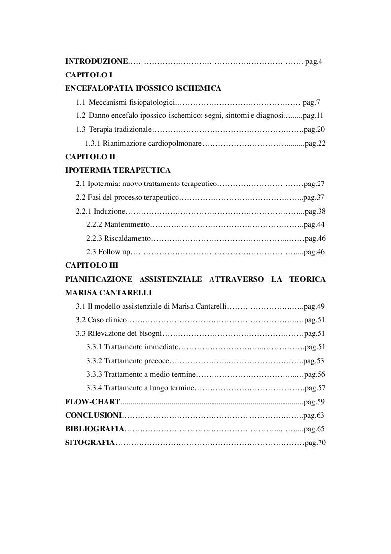 Indice della tesi: Ipotermia terapeutica. Il ruolo dell'Infermiere Pediatrico nel trattamento del neonato con Encefalopatia ipossico-ischemica., Pagina 1