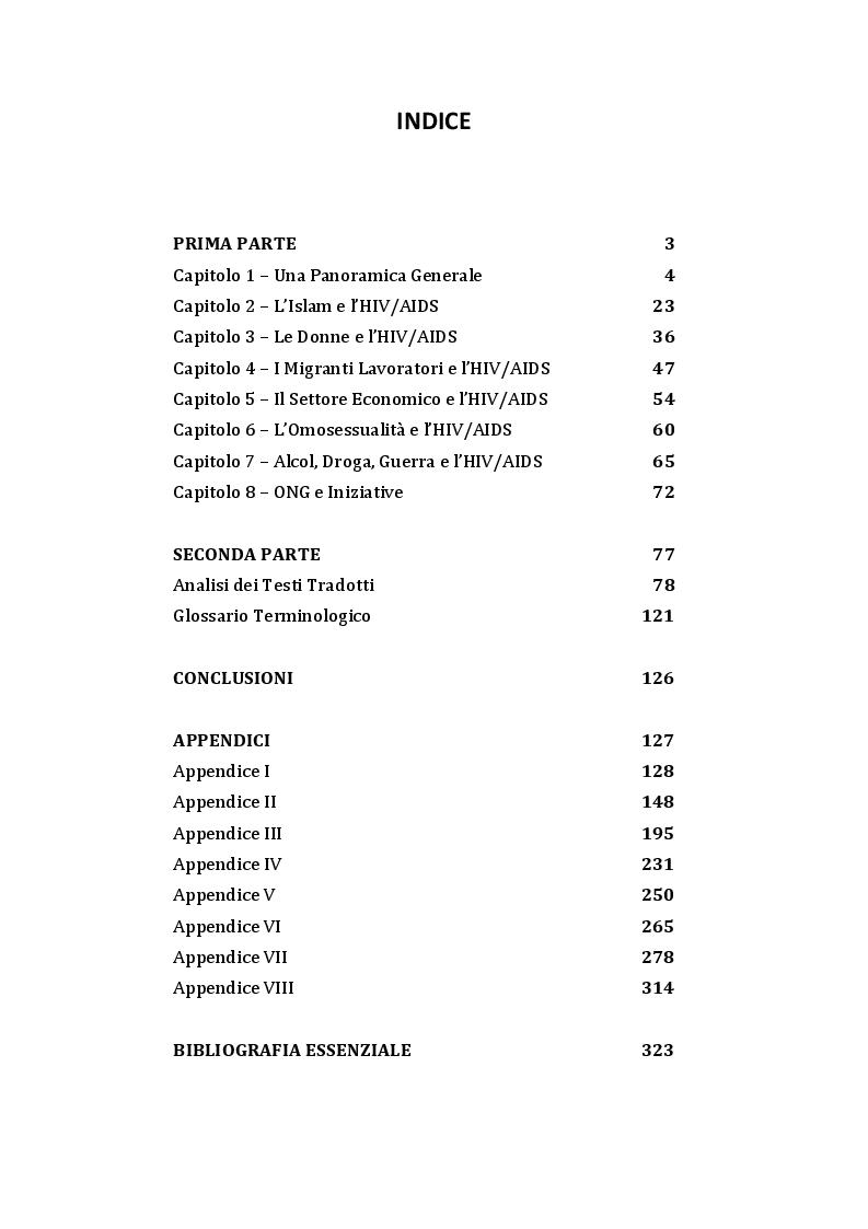 Indice della tesi: La Problematica dell'HIV/AIDS in Medio Oriente e in Nord Africa, Pagina 1