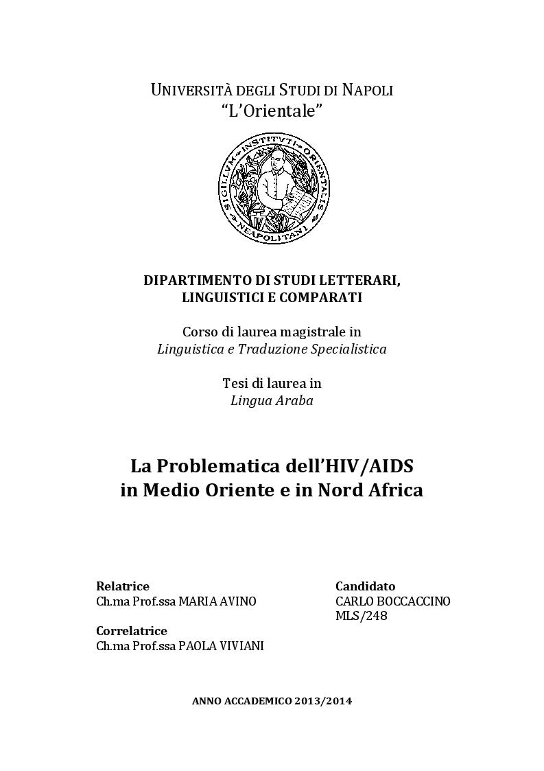 Anteprima della tesi: La Problematica dell'HIV/AIDS in Medio Oriente e in Nord Africa, Pagina 1