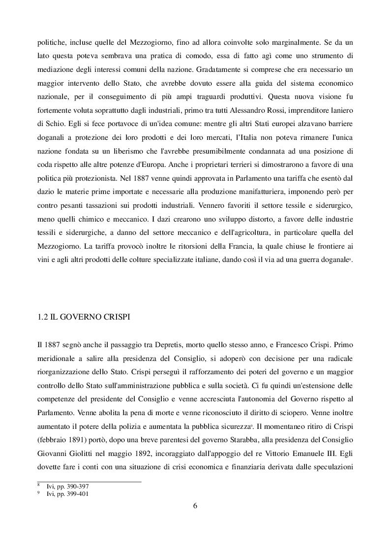 Estratto dalla tesi: Analisi e riflessioni sulle tendenze dei consumi in Italia tra '800 e '900