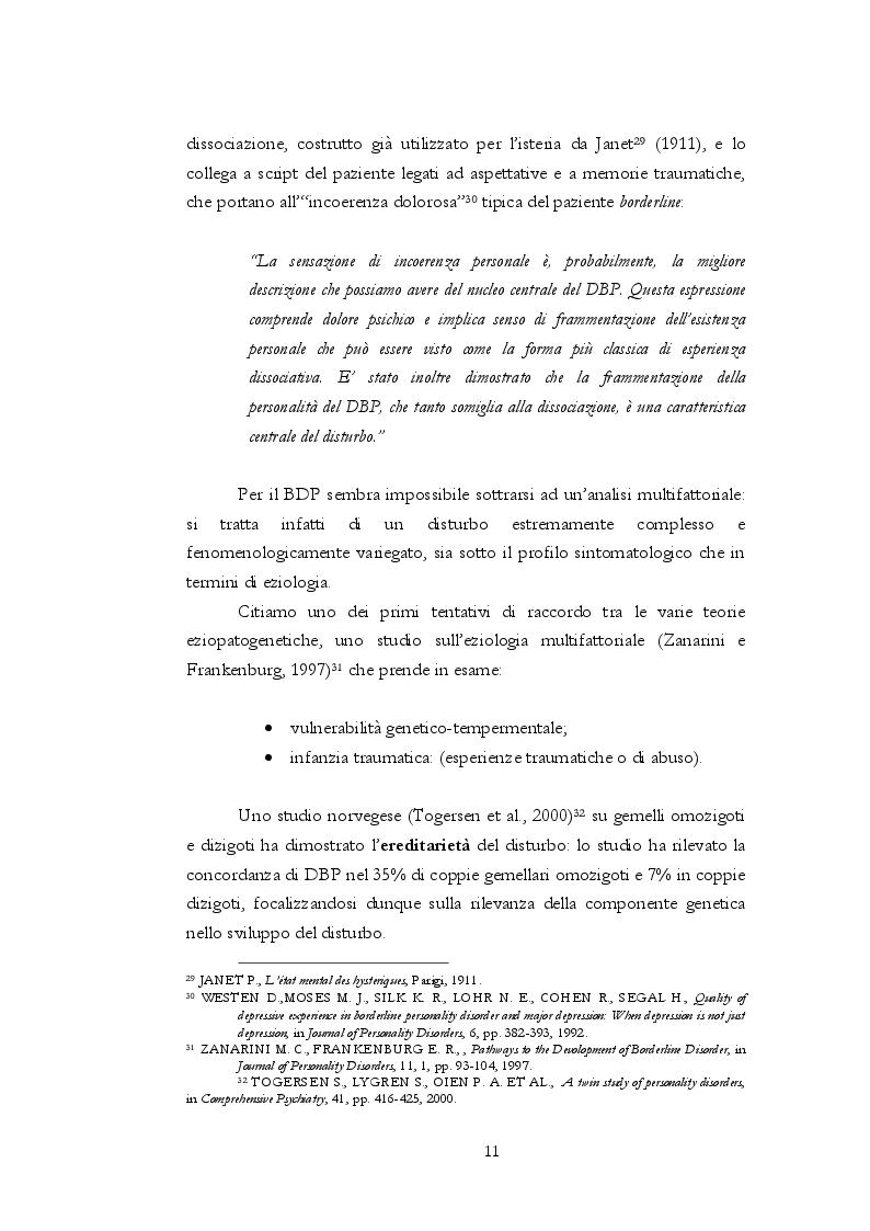 Estratto dalla tesi: Valutazione dell'efficacia del trattamento psicoterapeutico psicodinamico nei pazienti borderline